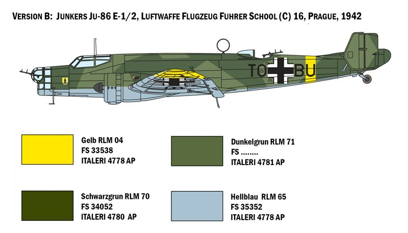 Aircraft 1/72 Junker JU-86 E-1 / E-2 - ITALERI  referencia IT1391 IT1391