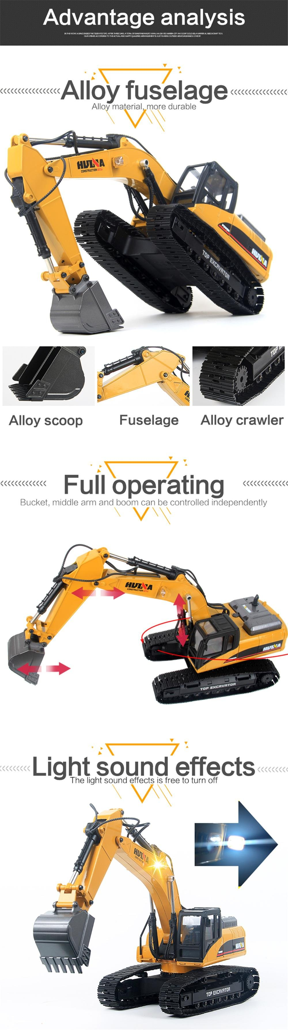 HUINA 1580 EXCAVATOR FULL METAL 23CH 1/14 RC referencia 1580 1580