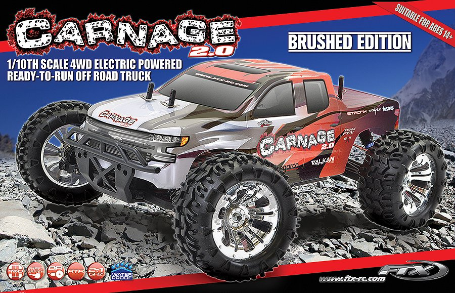 MONSTER TRUCK CARNAGE 2.0 1/10 BRUSHED ROJO referencia FTX5537R FTX5537R