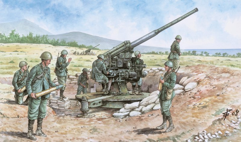 SOLDIERS 1/72 ITALIAN 90/53 GUN WITH CREW referencia IT6122 IT6122
